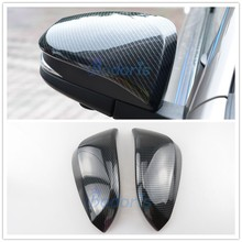 Carbon Fiber Color Door Mirror Cover Overlay Rear View Panel 2015 2016 2017 2018 For Toyota Fortuner AN150 AN160 SW4 Accessories chrome side door trim for toyota fortuner an160 hilux sw4 2015 2016 2017 car styling body cladding deflector accessories ycsunz