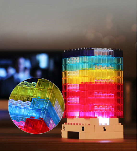 Hot!!  Kids Toy DIY Building Nightlight Educational Toys Bricks Baby Bedside LED Desk Lamp Puzzle Jigsaw Light toys for Children creative 3d diy wooden magnetic puzzle educational animals kids baby jigsaw puzzle toys for children cartoon fallout toy