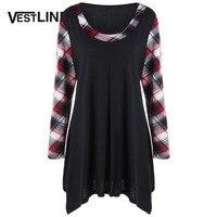 VESTLINDA Tops Tees Plus Size Plaid Trim Tunic T Shirt Autumn Women Scoop Neck Long Sleeve