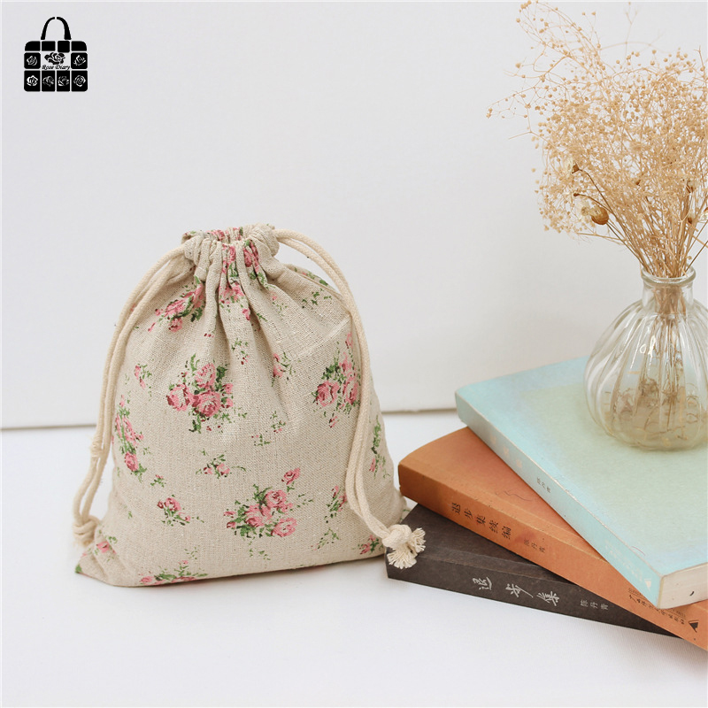 Finely flower printed 100%cotton bag Travel Accessories Clothes underwear shoes toy Storage Pouch Luggage Packing Organizers bag