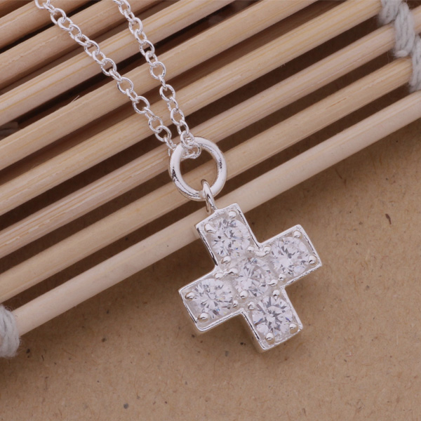 Fashion silver jewelry concise cross necklace with cz nice pendant fashion silver jewelry concise cross necklace with cz nice pendant necklace an236 mozeypictures