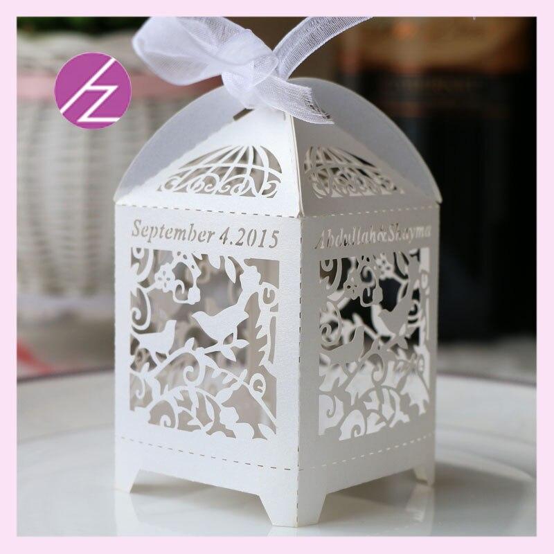 100 pcs lot Customize name date handmade paper lace box birdcage laser cut wedding souvenirs boxes