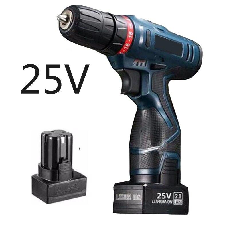25V Power Tools cordless  Screwdriver Lithium Battery Screwdriver drill Electric Screwdriver with Lithium Battery * 2  factory direct backup power electric tools dedicated lithium polymer battery 604060 2p 124060