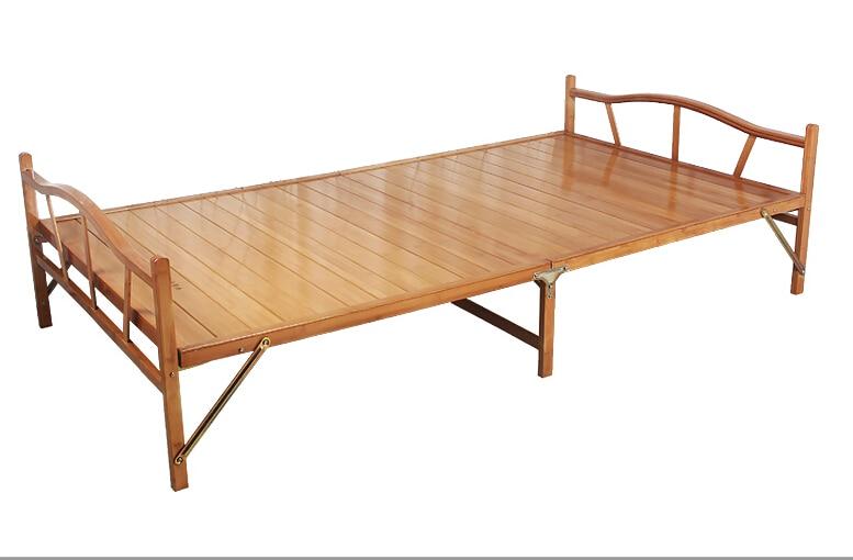 0.8x1.9cm Modern Folding Bed Indoor Bamboo Furniture Single Foldable Bed For Guest Home Bedroom Furniture Platform Bed Folding