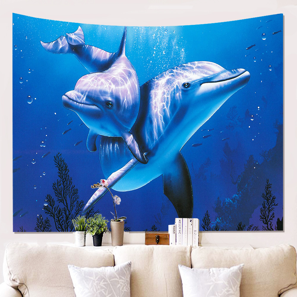 The Lovly Wall Cloth Tapestries Dolphin Hanging Carpet Indian Decoration Beach Tapestry Dorm Room Mat 200cm