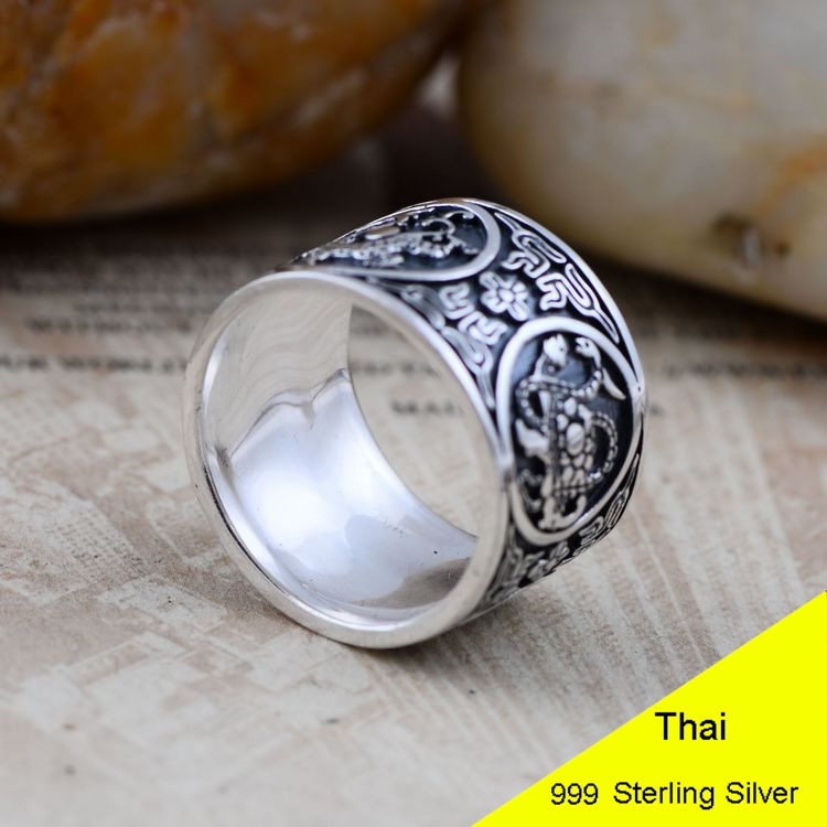 999 Sterling Silver Retro Men Male the God of the Quartet Ring Thai Silver Fine Jewelry Gift 1.4cm Wide Finger Ring CH045115