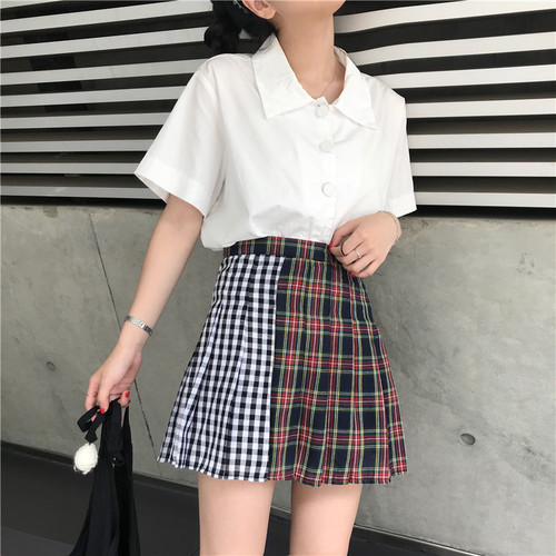 Harajuku saias ins over the fire chic waist spell color plaid pleated skirts Rok Summer Women have cloth Petticoat Underskirt