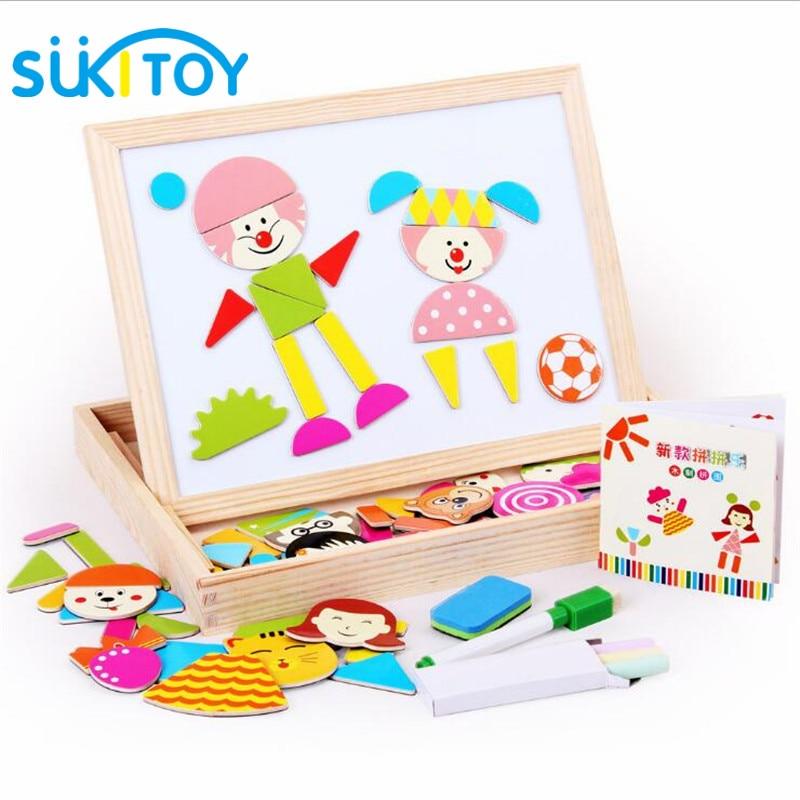 Kid's Soft Wooden Tegning Magnetic Puzzle Set med Blackboard og - Læring og utdanning - Bilde 1