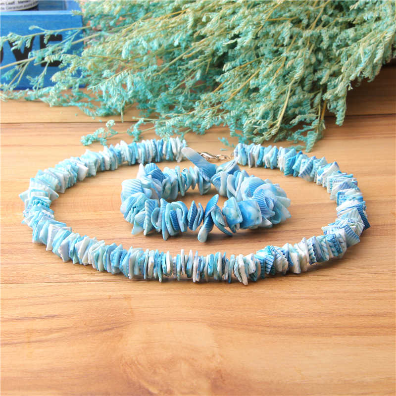 Natural Shells Choker Women Necklace Blue Shells Irregular Shape Chips Shell Beads Bracelet For Girl Summer Holiday Jewelry Gift