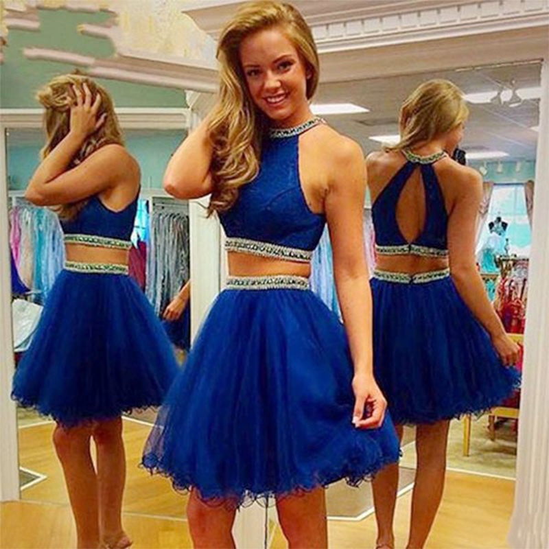 Fashion Royal Blue 2 Pieces Prom Dresses 2019 Beaded Pearls Backless Evening Party Gowns Formal Dress Vestidos Longo Hot Sale