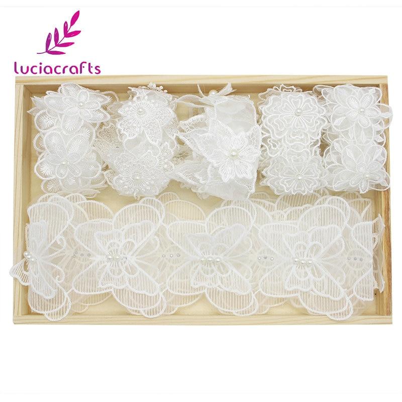 Lucia ремесел 1 ярд/lot разные варианты с белой вышивкой кружевная бейка повязка на голову Подарочная упаковка DIY аксессуары ручной работы 17010026