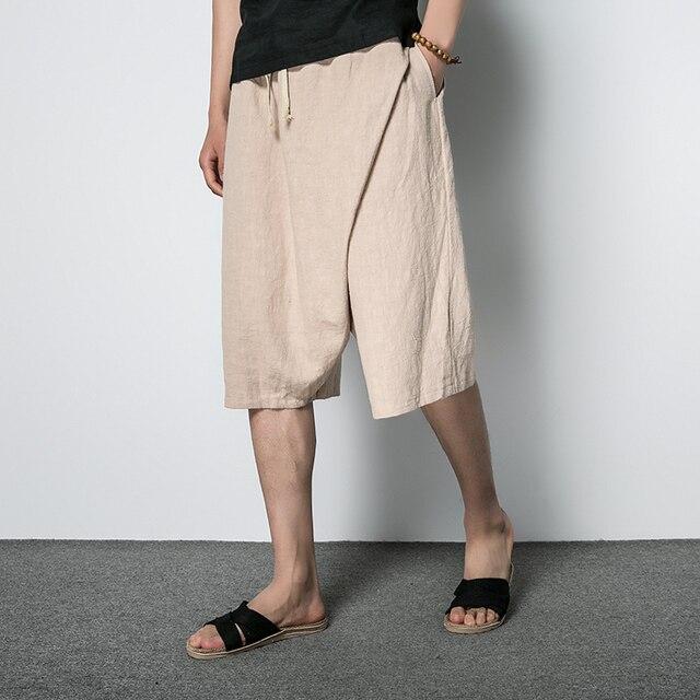 US $24.59 18% di SCONTO Uomini di estate Del Cotone Lino Harem Sciolto Pantaloncini Moda Maschile Casual Pantaloni Corti di Colore Solido pantaloni