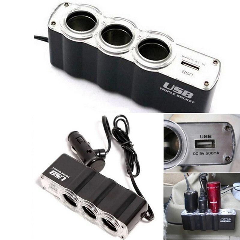 New 1 USB Charger Supply and Three Sockets Car Cigarette Lighter Extender Splitter Cargador Carregador hot drop shipping july12