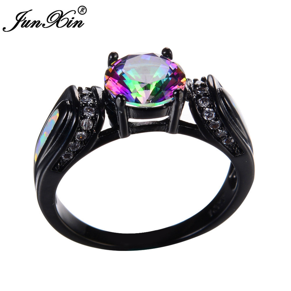 Junxin White& Rainbow Opal Ring With Aaa Cz Vintage Black Gold Filled  Wedding Engagement Rings For