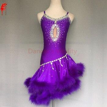 Novo estilo de dança latina traje sexy diamante pena latina dança vestido para as mulheres latina dança competição vestido S-4XL f80