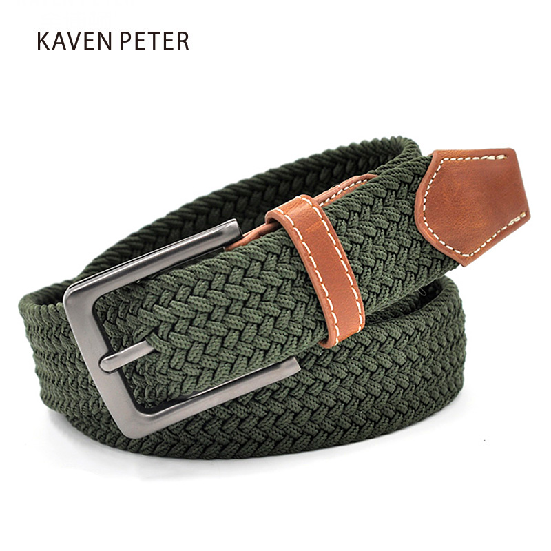 Green Longer Elastic Belts For Men Woven Braided Fabric Comfort Stretch Casual Belts 1-3/8