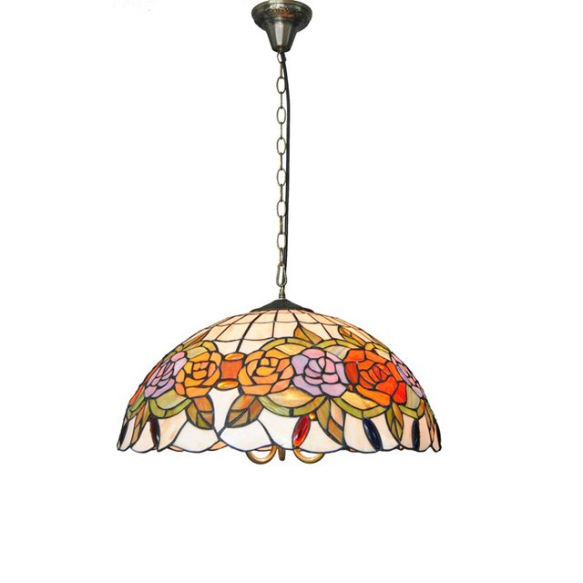 Suspension Tiffany e26/e27 tiffany style arts rose suspension lamp european ancient