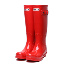 Red Rainboots Slip On Pvc Candy Rain Boots Jelly Flat 2018 Knee High Long  Wide Calf 36d84546201e
