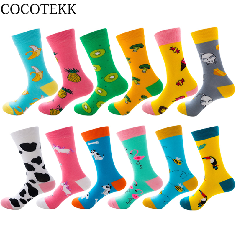 Новые осенне-зимние женские милые Мультяшные носки из чесаного хлопка, веселые кавайные носки с единорогом, Пчелой, фламинго, модные подаро...