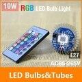 New 10W E27 AC85-265V Dimmable RGB led bulb lamp light Colorful Spot 24key Remote Control led lighting Free Shipping