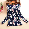 2016 Spring Summer Lady Women Polka Dot Floral Printed O-Neck Long Sleeve Roll-up Cuffs Tops Blouses ZM0097