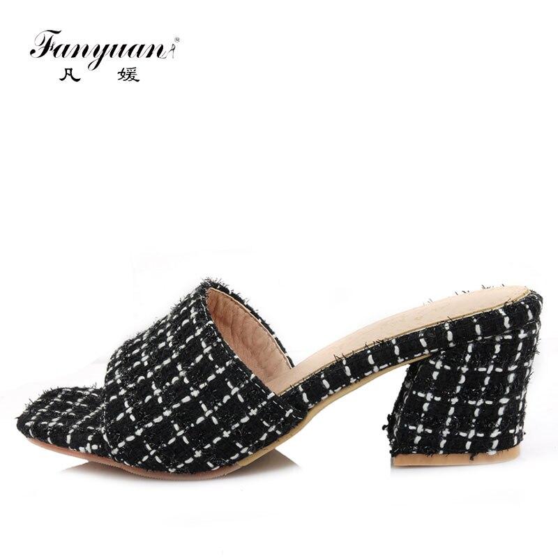 b3a0b151d Fanyuan/Для женщин Летние тапочки на высоком каблуке сандалии-шлепанцы  бренд Дизайн женские тапочки