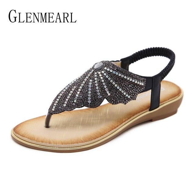 b8acdadb80922 Brand Flat Sandals Flip Flops Women Summer Shoes Rhinestone Wedges Heels  Casual Beach Shoes Woman Plus Size Female Sandals DE