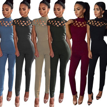 Hot Hollow Out Skinny Jumpsuit Women Fitness wear Sexy Solid Rompers Girls Femme Cloth Plus size S-XL