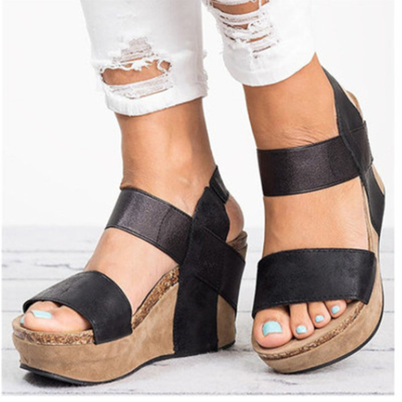 2019 New Summer Women Sandals Wedges Peep Toe Shoes High Heels Height Increasing Elastic band Beach Ladies Pumps Casual Platform