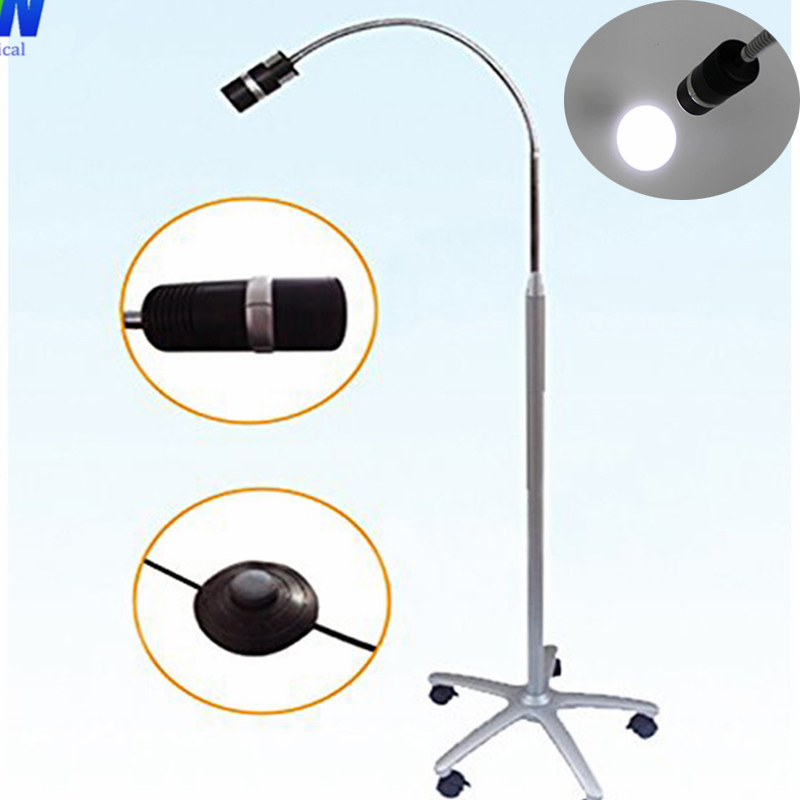 Free shipping Portable Surgery JD1100L Mobile Stand Type LED Exam Light 7W with Foot Switch By Movable with wheels free shipping 600x 4 3 lcd display microscope zoom portable led video microscope with aluminum stand for pcb phone repair bga