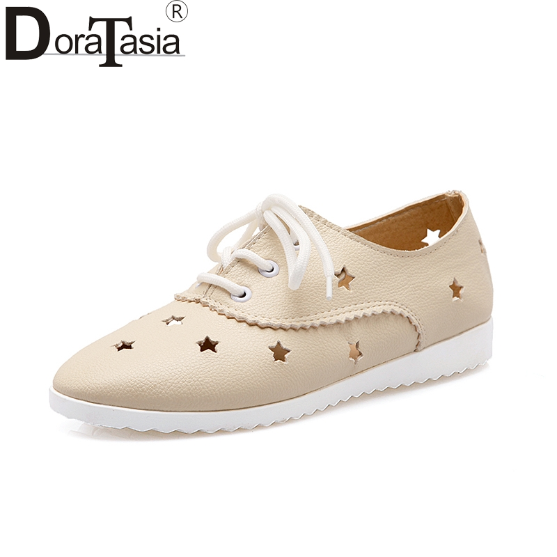 DoraTasia Top Quality Stars Hollow Spring Summer Women Shoes Flats Fashion Comfortable Lace Up Girls Woman Shoes Sneakers