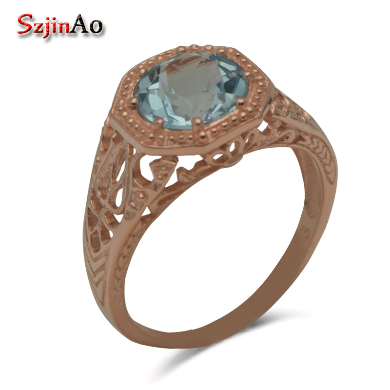 Szjinao Fashion Boutique Wholesale Custom Victoria Style Natural Rose Sky Blue Crystal 925 Silver Rings Wholesale