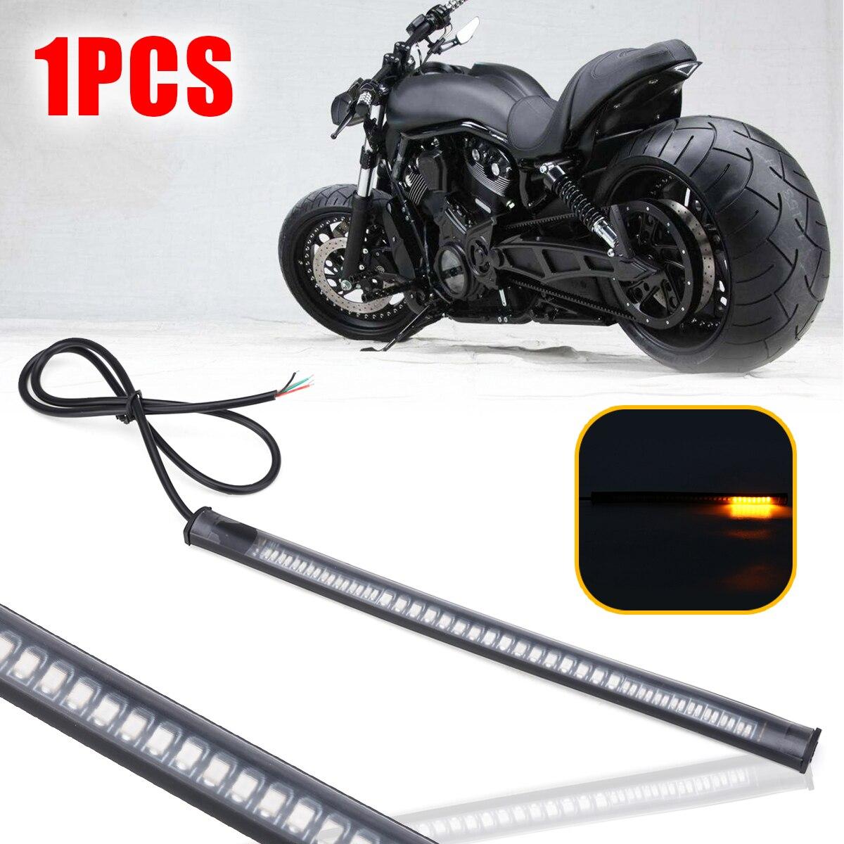 1PC DC 12V Flexible 48 LED SMD Strip Motorcycle Car Amber Turn Signal Light Red Brake Stop Lamp Super Bright 3528