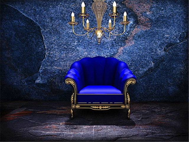 Blue Chair Light Brick Wall Photography Backdrop Dark