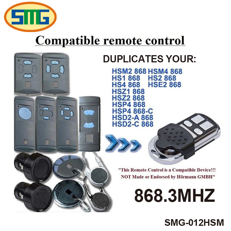2pcs 4 channel Hormann remote control Compatible with HSM2, HSM4 868MHz remote free shipping