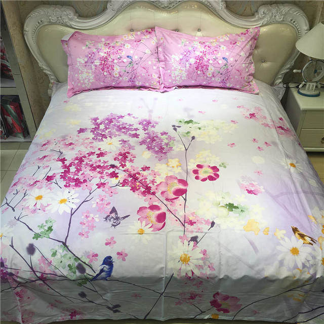 Pink Vivid Small Flowers Printed Bedding Sets Coverlets Cotton Bed Duvet  Covers Adults Girls Bedroom Decor