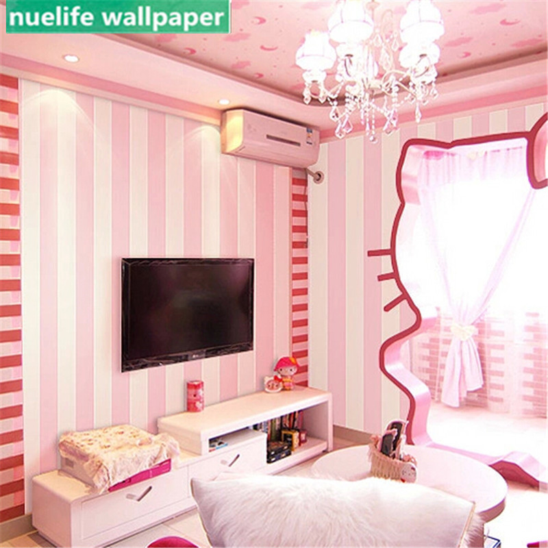 Simple vertical stripes wallpaper princess kids room non-woven wallpaper pink wedding room girl bedroom wallpaperSimple vertical stripes wallpaper princess kids room non-woven wallpaper pink wedding room girl bedroom wallpaper