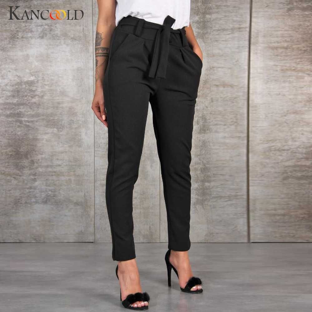 KANCOOLD Pants Women fashion High Waist Bow sashes Harem Pants Bandage Elastic Waist Stripe Casual new pants woman 2019jan14