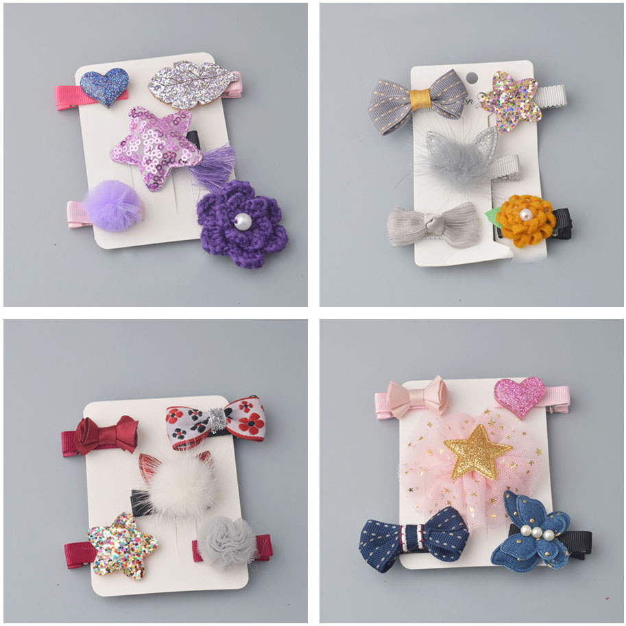 5PCS/ SET girls flowers hair clips cartoon hairpins toddlers kids Animal Bow SAFE Barrettes Hair Accessories Flower gift set L2 new fashion korean bear and rabbit handmade blue denim bow hair clips hairpins girls women barrettes hair accessories