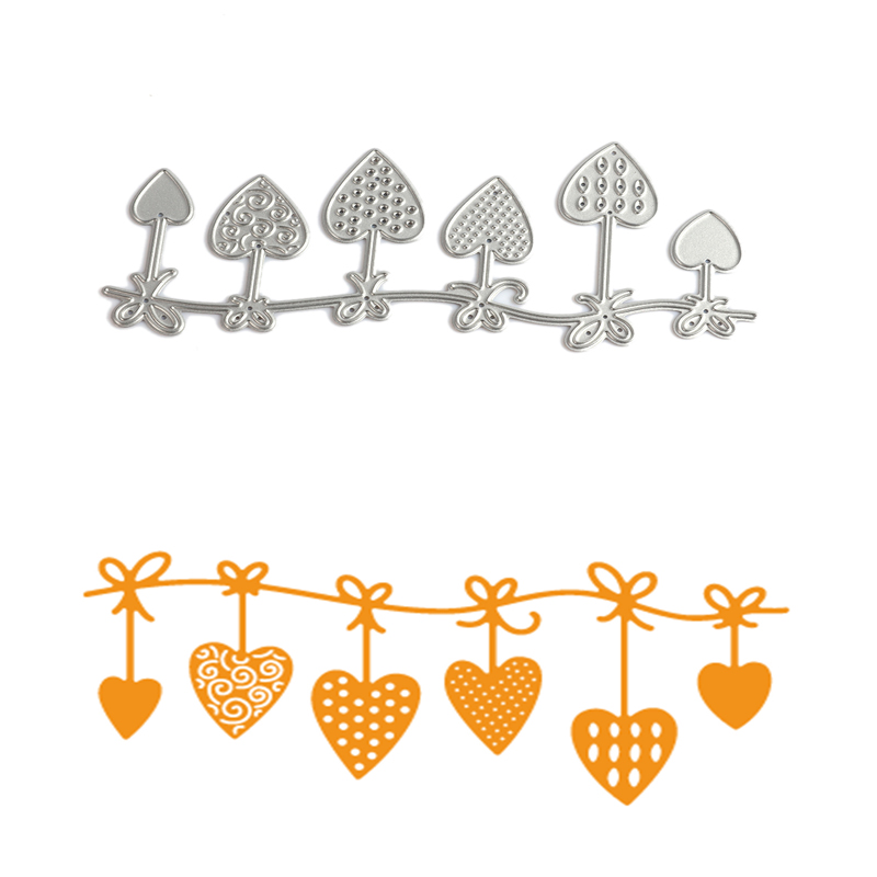 12.5*5.8cm scrapbooking DIY Carbon 6style love Sharp Metal steel cutting die Flower Shape Book photo album art card Dies Cut