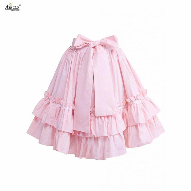 Ainclu XS To XXL Free Shipping Cemavin Womens Girls Hot Selling Cotton Ruffles Bow Pink Sweet Casual Cake Lace Lolita Skirt