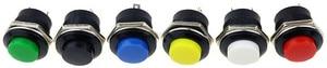 Image 4 - 6 個R13 507 瞬間的なspst no赤黒白黄緑、青ラウンドキャッププッシュボタンスイッチac 6A/125v 3A/250v 6 色