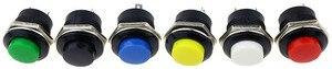 Image 4 - 6 pcs R13 507 רגעי SPST לא אדום שחור לבן צהוב ירוק עגול הכחול שווי כפתור מתג AC 6A/125V 3A/250V 6 צבע