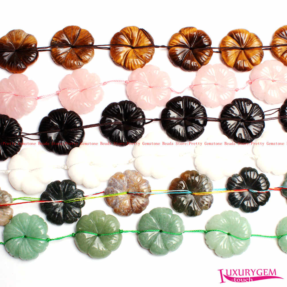 Free Shipping 30mm Natural 6 Type Material Flower Shape Gems Loose Beads Strand 10Pcs DIY Creative Jewellery Making wj343
