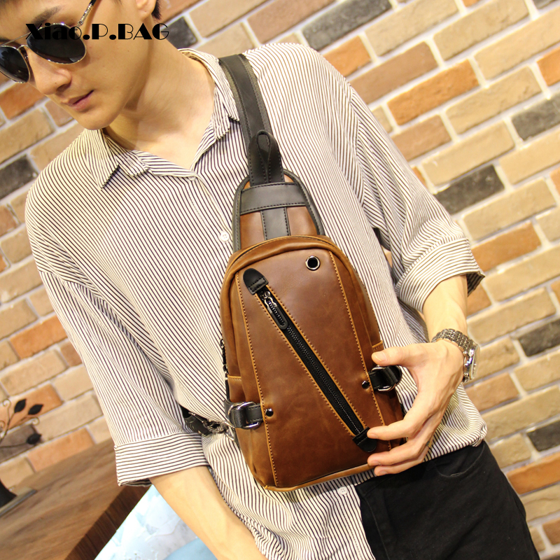 Xiao.P 2018 New Crazy Horse PU Leather Men Chest Bag Casual Crossbody Bag Single Shoulder Bag Brown Bolwing Messenger Bag