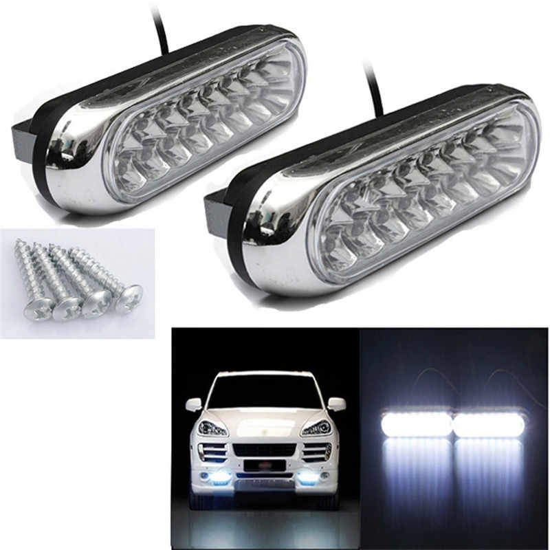 Car Light 2PCS Universal 16 LED Car Van DRL Day Driving Daytime Running Fog White Light Lamp dropship  j29