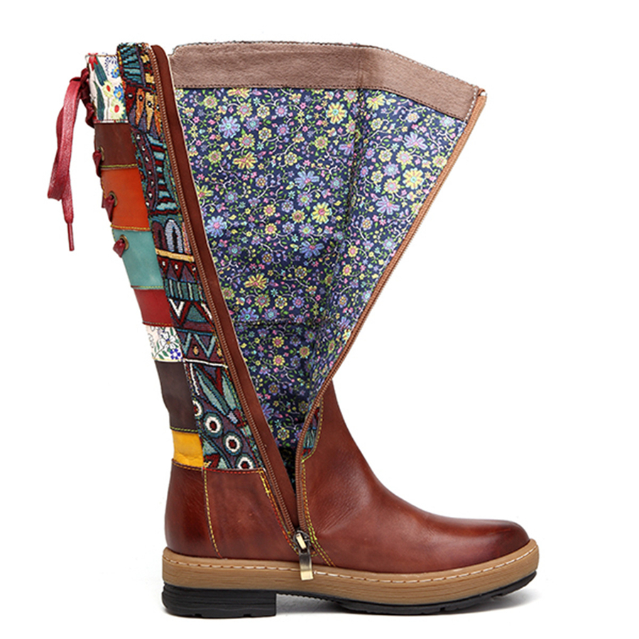 Women winter Boots Genuine cow Leather Comfortable quality soft Shoes handmade Bohemian warm long boots over the knee boot 2019-in Knee-High Boots from Shoes    3