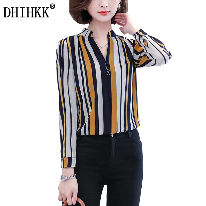 DHIHKK Official Store DHIHKK 2017 New Autumn Women Shirts Blouses Striped Tops Female Long Sleeve Chiffon Blouses Office Lady Blusas size M-4XL