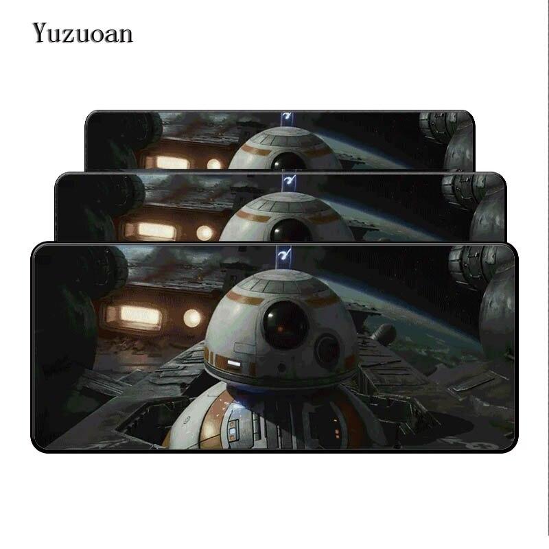 Yuzuoan Звездные войны BB компьютерных игр Мышь Pad Мышь колодки украсить ваш стол Нескользящие резиновые Pad черный большой оверлок Мышь pad