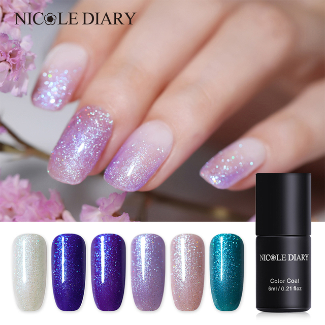 Nicole Diary 6ml Uv Gel Polish Holo Soak Off Nails Lamp Glitter Nail